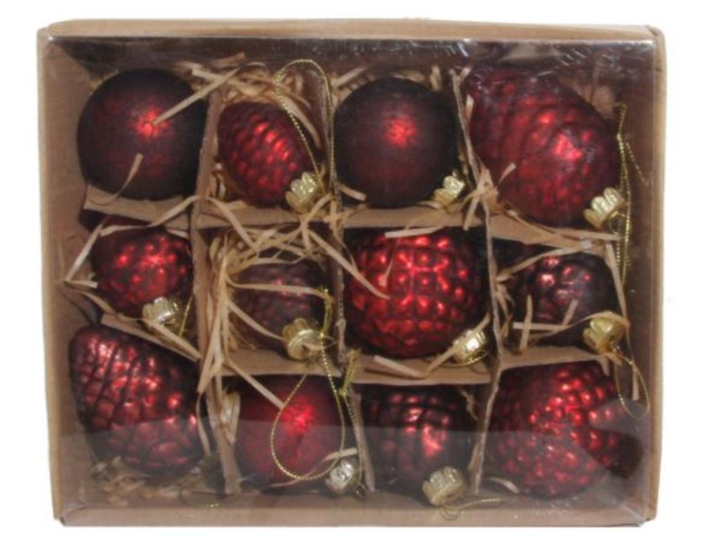 Kuglice antique crvene, mix 8cm, set od 12 kuglica