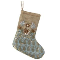 Ukras čizmica Božić, zlatno plava-zelena, 16cm, set od 2. čizmice