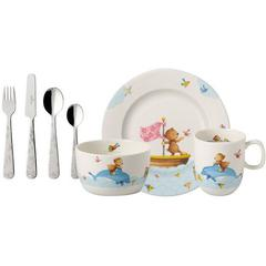 Baby set 7-djelni Villeroy&Boch Happy as a Bear, tanjur, šalica, zdjelica, 4-djelni pribor za jelo